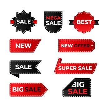 Realistico concetto di raccolta delle etichette di vendita