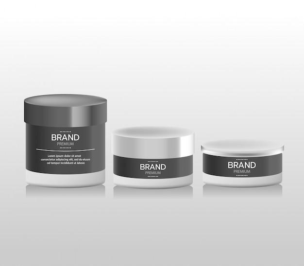 Realistico contenitore per crema cosmetica bianca e tubo per crema, unguento, dentifricio, crema