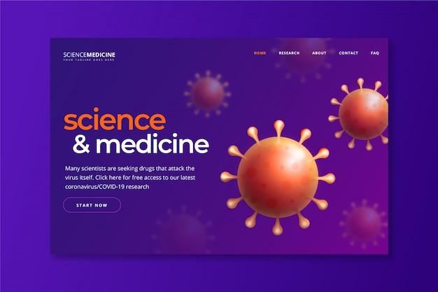Realistico coronavirus landing page concept