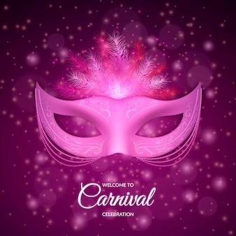 Realistico design carnevale brasiliano con maschera