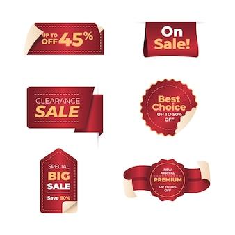 Realistico design della collezione di etichette di vendita