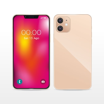 Realistico design smartphone rosa con due fotocamere