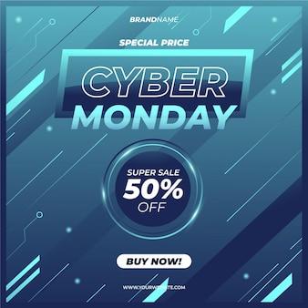 Realistico design tecnologico cyber lunedì vendita