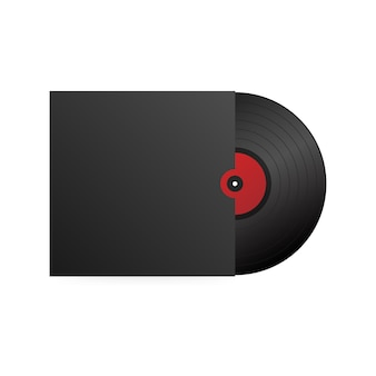 Realistico disco in vinile con copertina nera. festa in discoteca. design retrò. .