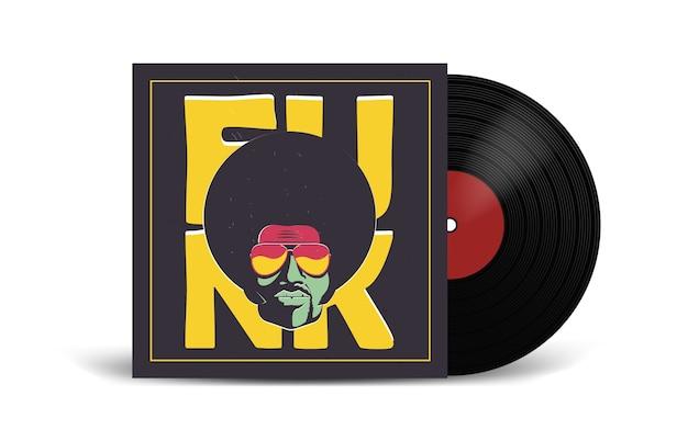 Realistico disco in vinile con cover mockup