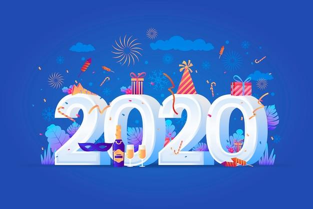 Realistico divertente nuovo anno 2020 sullo sfondo
