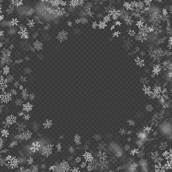 Realistico effetto caduta fiocchi di neve decorazione natalizia su sfondo trasparente. modello di neve che cade. magica nevicata bianca.