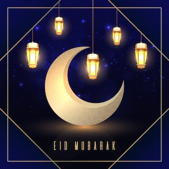 Realistico eid mubarak con luna e lanterne