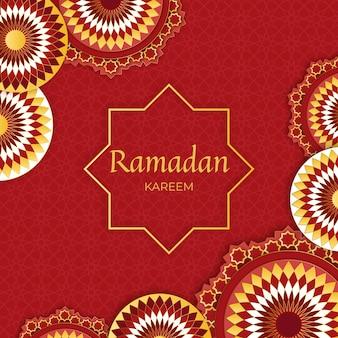 Realistico felice ramadan kareem con forme tradizionali