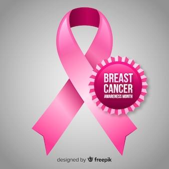 Realistico fiocco fiocco rosa con badge cerchio