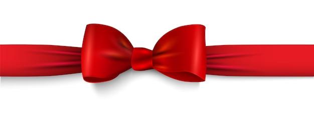 Realistico fiocco rosso con nastro orizzontale isolato