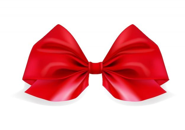 Realistico fiocco rosso su bianco