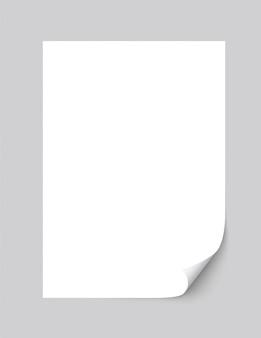 Realistico foglio di carta vuoto arricciato angolo di con ombra