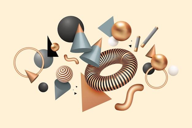 Realistico galleggiante forme geometriche sullo sfondo