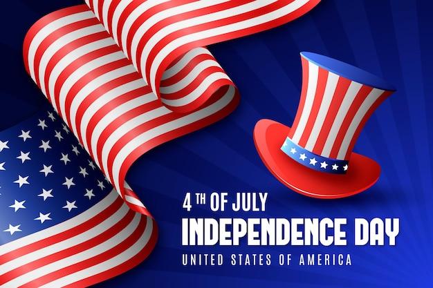 Realistico giorno dell'indipendenza con bandiera e cappello