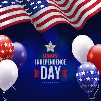 Realistico giorno dell'indipendenza con bandiera e palloncini