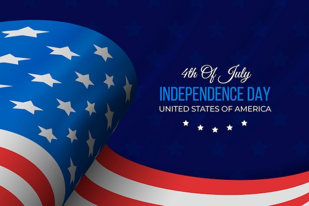 Realistico giorno dell'indipendenza con bandiera