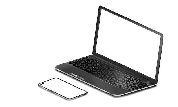 Realistico laptop nero e telefono con schermo vuoto su sfondo isolato, del laptop e smartphone su sfondo bianco, spazio vuoto per la progettazione, illustrazione