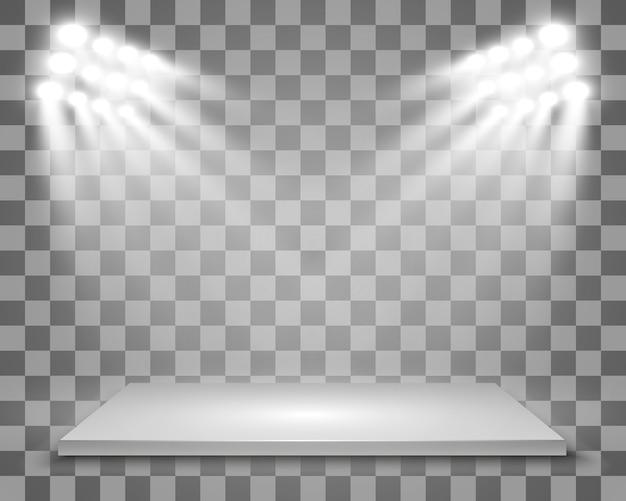 Realistico light box con piattaforma di sfondo per spettacoli, spettacoli, mostre. illustrazione di lightbox studio interior. podio con faretti.
