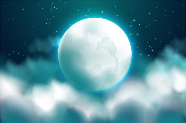 Realistico luna piena sullo sfondo del cielo