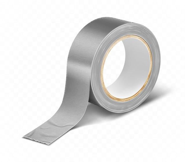 Realistico nastro adesivo grigio argentato a rotolo