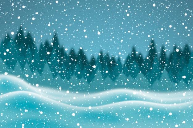 Realistico nevicata sullo sfondo