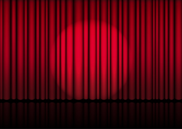 Realistico open red curtain on stage o cinema