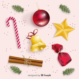 Realistico pacchetto di decorazioni natalizie