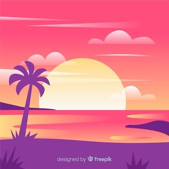 Realistico paesaggio da spiaggia al tramonto