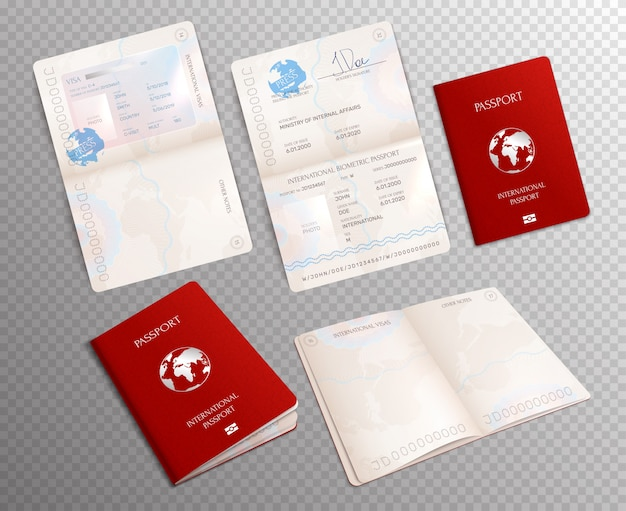 Realistico passaporto biometrico impostato su trasparente con modelli di documenti aperti su fogli diversi