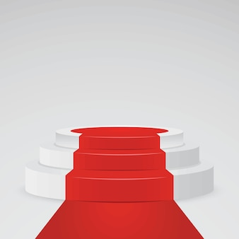 Realistico piedistallo bianco - piedistallo 3d con tappeto rosso. piattaforma del podio per il premio e il vincitore, illustrazione vettoriale