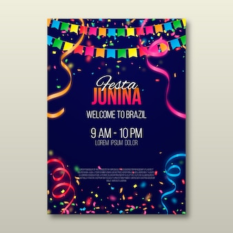 Realistico poster di festa junina