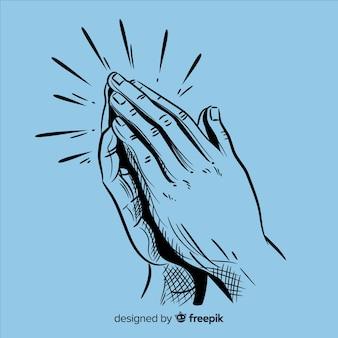 Realistico pregando mani sullo sfondo