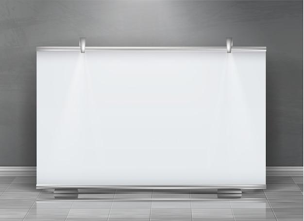 Realistico rimboccarsi banner, stand orizzontale, cartellone bianco per la mostra