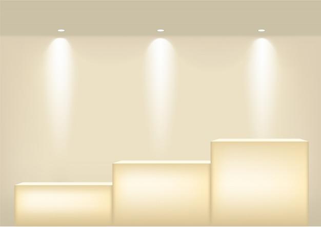 Realistico ripiano in oro vuoto per interni per mostrare il prodotto con riflettori e ombre. podio