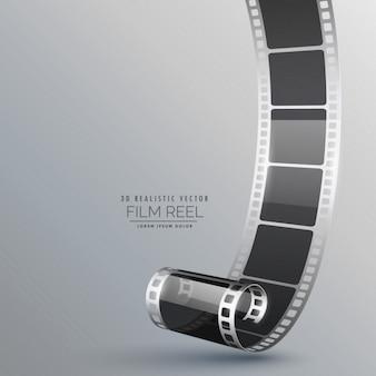 Realistico rullo di pellicola 3d su sfondo grigio