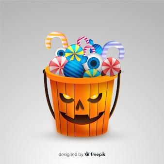Realistico sacchetto di zucca di halloween