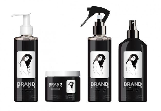 Realistico set di cosmetici neri con coperchio bianco e nero.