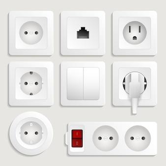 Realistico set di prese elettriche a muro