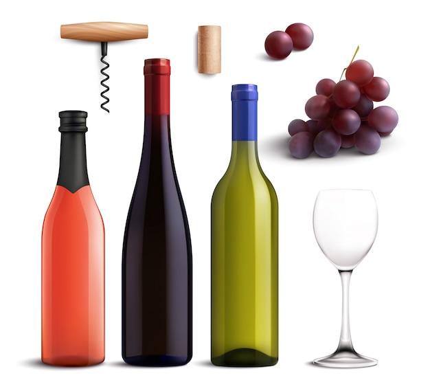 Realistico set di vini con vino rosso e bianco e uva