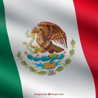 Realistico sfondo bandiera messicana