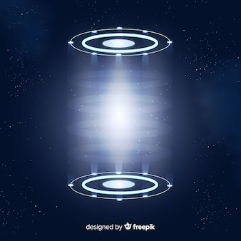 Realistico sfondo blu portale ologramma