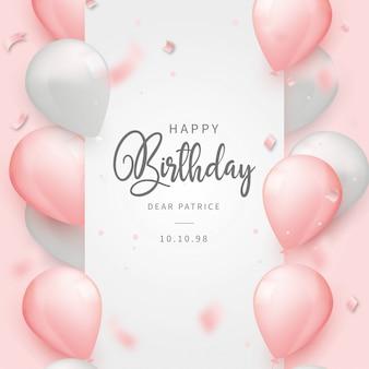 Realistico sfondo di buon compleanno con palloncini rosa