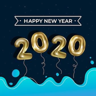 Realistico sfondo di palloncini del nuovo anno 2020