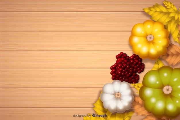Realistico sfondo di ringraziamento con verdure