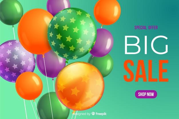 Realistico sfondo di vendita con palloncini