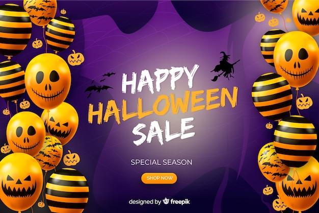 Realistico sfondo di vendita di halloween con palloncini di zucca
