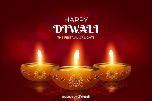 Realistico sfondo festival diwali con candele