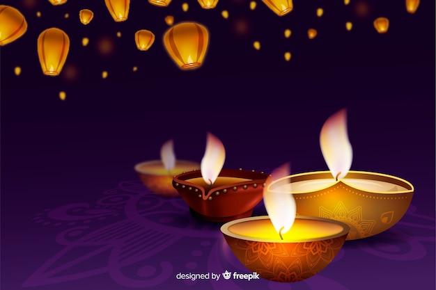 Realistico sfondo festivo diwali con candele