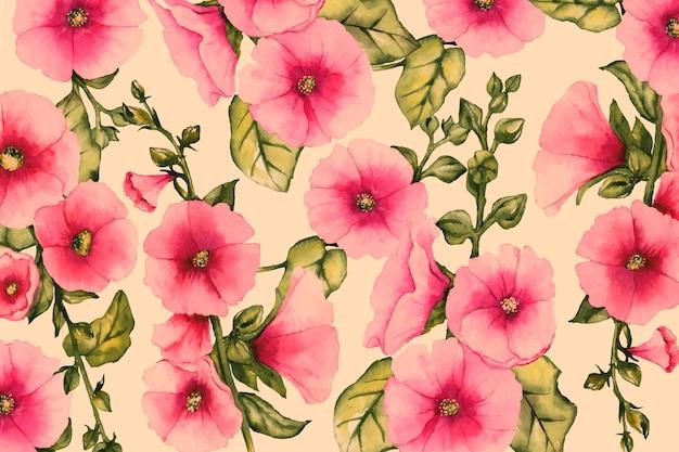 Realistico sfondo floreale dipinto a mano